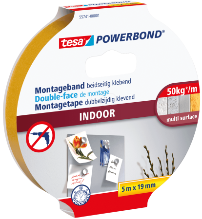 tesa Powerbond® Indoor 55741, 19 mm x 5 m, 0,21 mm, Transparent, Doppelseitiges Montageband